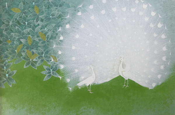 Japanese Peacock or Peahen paintings and prints by Atsushi UEMURA