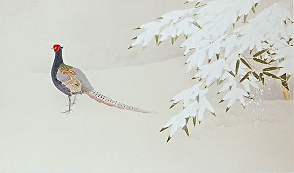 Japanese Pheasant paintings and prints by Atsushi UEMURA