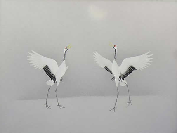 Japanese Crane paintings and prints by Atsushi UEMIURA