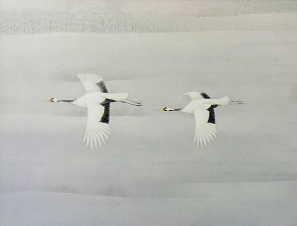 'Flying' lithograph by Atsushi UEMURA