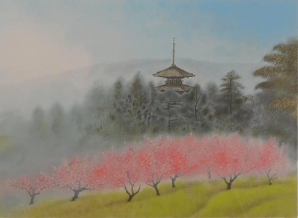 Japanese Tower paintings and prints by Chikuhaku SUZUKI