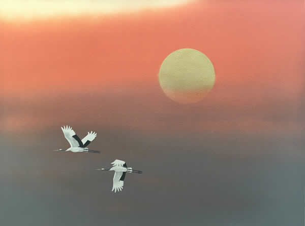 Sunrise with Flying Cranes, by Chusaku OYAMA