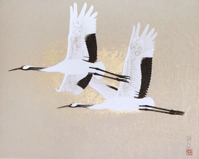 Japanese Crane paintings and prints by Eien IWAHASHI