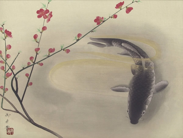 Japanese Carp paintings and prints by Gyoshu HAYAMI