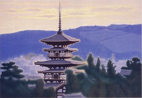 Japanese Tower paintings and prints by Ikuo HIRAYAMA