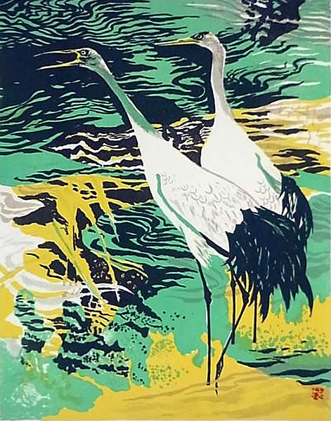 Japanese Crane paintings and prints by Kazuho HIEDA