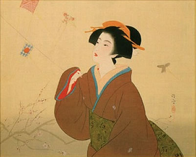 Japanese Plum Blossom paintings and prints by Kiyokata KABURAKI