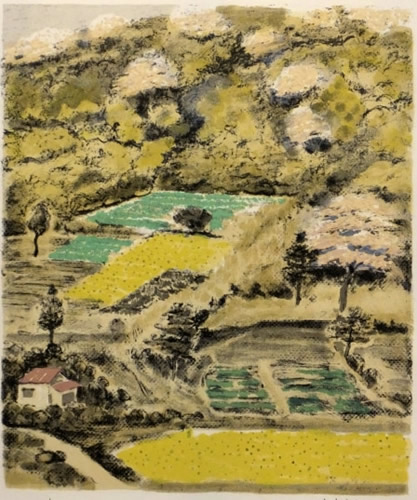 Japanese Paddy Field or Rice Paddy paintings and prints by Kyujin YAMAMOTO
