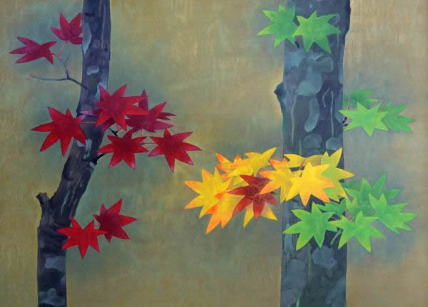 Japanese Maple or Autumn Colors paintings and prints by Masaru MATSUMOTO