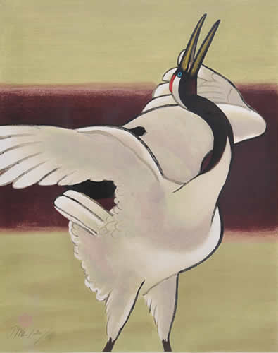 Japanese Crane paintings and prints by Meiji HASHIMOTO