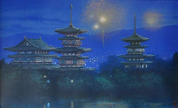 Japanese Tower paintings and prints by Nori SHIMIZU