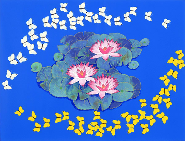 Butterfly Dancing above a Pond, lithograph by Reiji HIRAMATSU