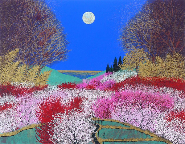 Japanese Moon paintings and prints by Reiji HIRAMATSU