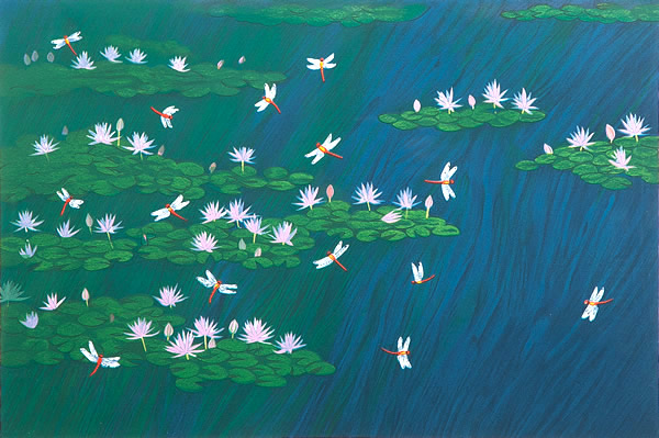Monet's Pond and Red Dragonflies, lithograph by Reiji HIRAMATSU