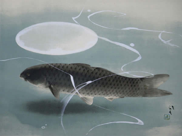 Japanese Carp paintings and prints by Ryushi KAWABATA