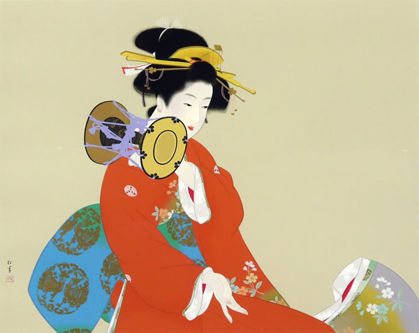 Japanese Kimono paintings and prints by Shoen UEMURA