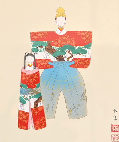 Japanese Doll paintings and prints by Shoen UEMURA