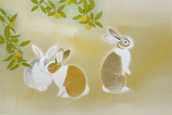 Japanese Rabbit or Hare paintings and prints by Shoko UEMURA