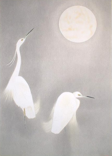 Japanese Egret paintings and prints by Shoko UEMURA