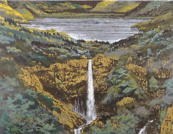 Japanese Waterfall paintings and prints by Sumio GOTO