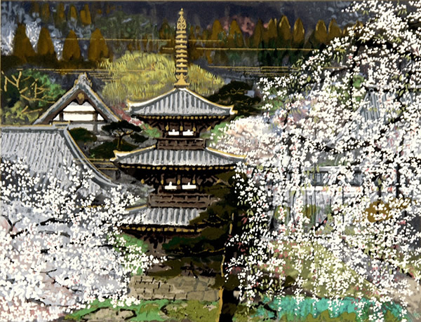 Japanese Tower paintings and prints by Sumio GOTO