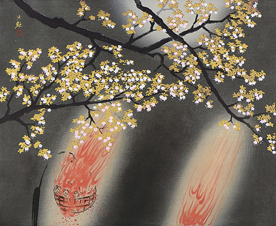 Japanese Fire paintings and prints by Taikan YOKOYAMA