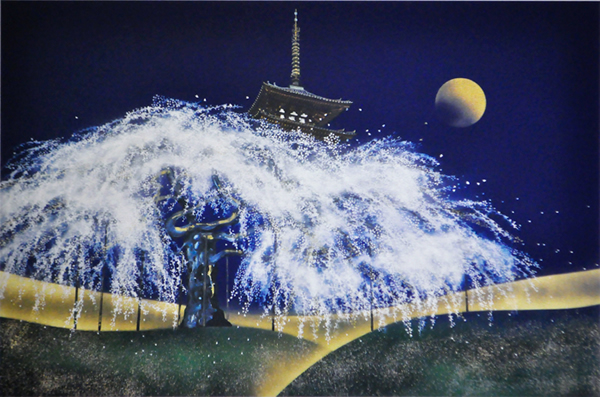 Japanese Tower paintings and prints by Taisuke HAMADA