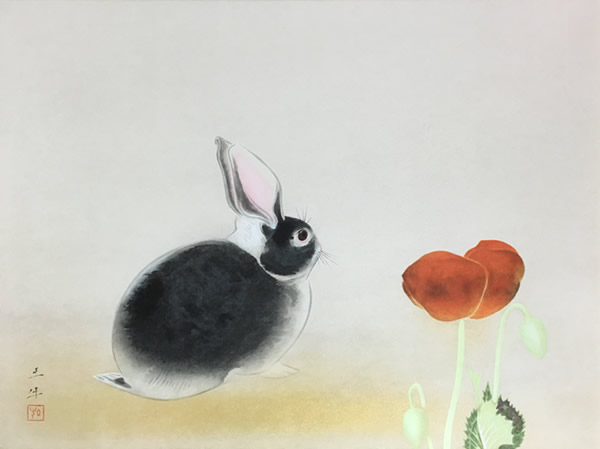 Japanese Rabbit or Hare paintings and prints by Togyu OKUMURA