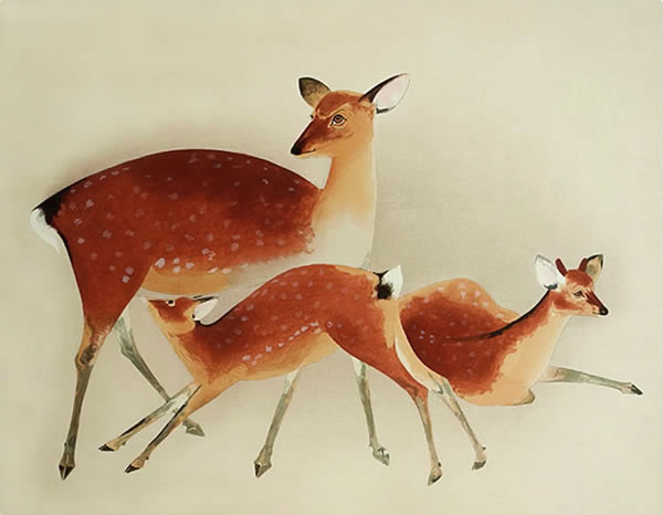 Japanese Deer paintings and prints by Togyu OKUMURA