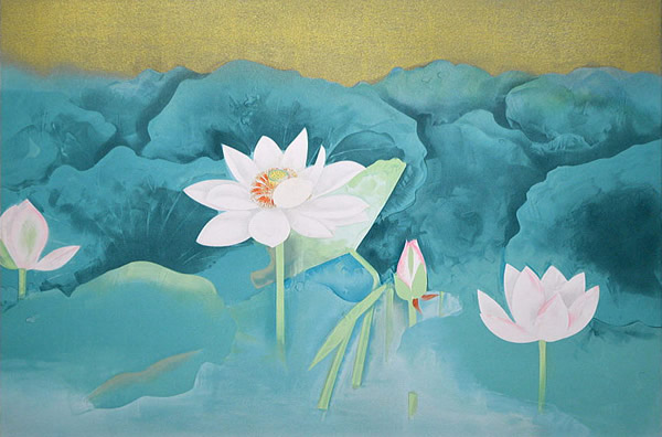 Japanese Water Lily paintings and prints by Togyu OKUMURA