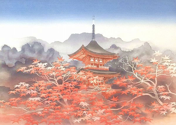 Japanese Tower paintings and prints by Toshio HIRAKAWA