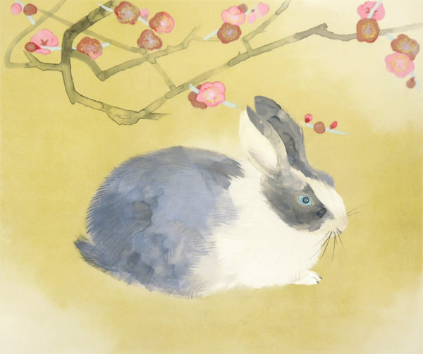 Japanese Rabbit or Hare paintings and prints by Toshio MATSUO