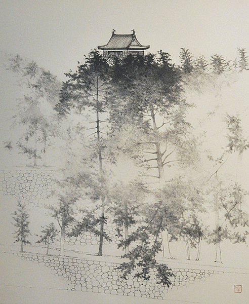 Japanese Castle paintings and prints by Toshio TABUCHI