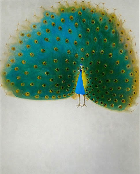 Japanese Peacock or Peahen paintings and prints by Yasushi SUGIYAMA