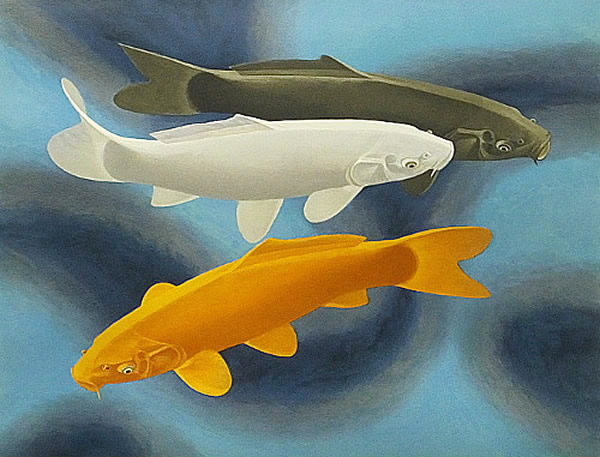 Japanese Carp paintings and prints by Yasushi SUGIYAMA